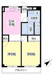 JR総武本線 榎戸駅 徒歩4分の賃貸アパート 1階2DKの間取り