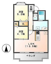 愛知県犬山市内田東町の賃貸マンションの間取り