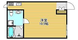 阪神なんば線 千鳥橋駅 徒歩7分の賃貸アパート 2階ワンルームの間取り