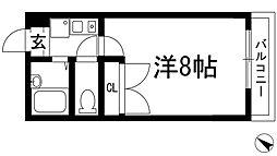 兵庫県川西市一庫3丁目の賃貸マンションの間取り