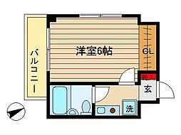 東京都大田区中央8丁目の賃貸マンションの間取り