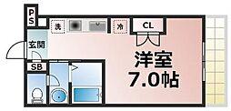 Osaka Metro長堀鶴見緑地線 玉造駅 徒歩8分の賃貸マンション 9階ワンルームの間取り