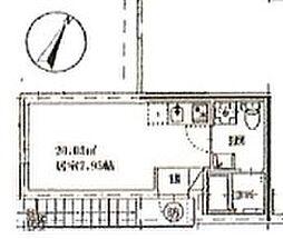 フリーダム315 2階ワンルームの間取り