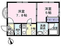 Le ciel ogura(ル シエル オグラ) 2階2Kの間取り