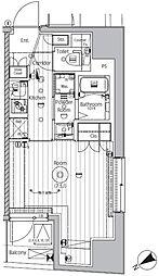 東京メトロ副都心線 西早稲田駅 徒歩8分の賃貸マンション 12階1Kの間取り