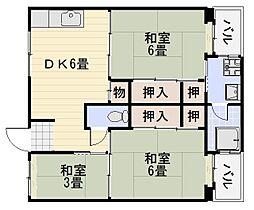 ビレッジハウス伏屋6号棟[4階]の間取り
