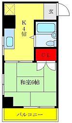 藤井ビル 4階1Kの間取り