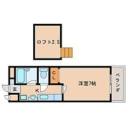 JR関西本線 三郷駅 徒歩7分の賃貸マンション 2階1Kの間取り