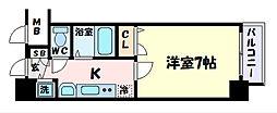 神戸市西神・山手線 大倉山駅 徒歩4分の賃貸マンション 3階1Kの間取り