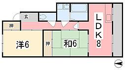 兵庫県姫路市飾磨区清水の賃貸アパートの間取り