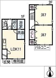 [タウンハウス] 愛知県海部郡大治町大字砂子字中割 の賃貸【/】の間取り