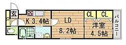 クリエオーレ稲葉[2階]の間取り