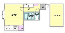 福岡県福岡市博多区対馬小路の賃貸アパートの間取り