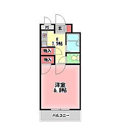 メゾン・ドゥ・シェポル 6階1Kの間取り