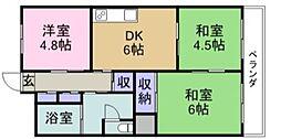 広島県福山市本庄町中1丁目の賃貸マンションの間取り