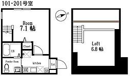 ハーミットクラブハウスヴァンキャトル逗子2階Fの間取り画像