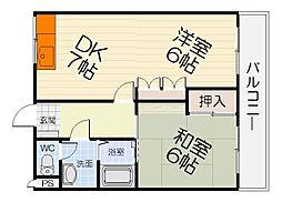 泉北高速鉄道 深井駅 徒歩13分の賃貸マンション 2階2DKの間取り