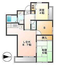 マンション汐見II[2階]の間取り