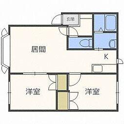 ラポート新札幌B[2階]の間取り