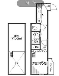 東京都新宿区中落合2丁目の賃貸アパートの間取り