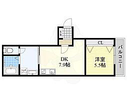 阪神なんば線 千鳥橋駅 徒歩12分の賃貸アパート 2階1SDKの間取り
