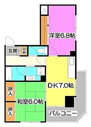 埼玉県富士見市水谷2丁目の賃貸マンションの間取り