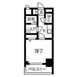 名古屋市営桜通線 中村区役所駅 徒歩9分の賃貸マンション 3階1Kの間取り