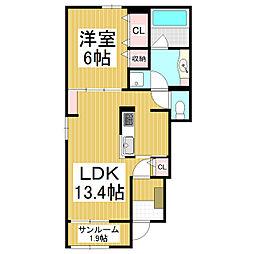 JR篠ノ井線 塩尻駅 バス8分 塩尻営業所下車 徒歩3分の賃貸アパート 1階1LDKの間取り