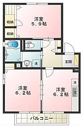 東京都日野市万願寺4丁目の賃貸アパートの間取り