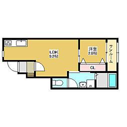 新潟県新潟市江南区下早通2丁目の賃貸アパート 1階1LDKの間取り