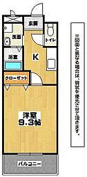福岡県北九州市小倉北区若富士町の賃貸アパートの間取り