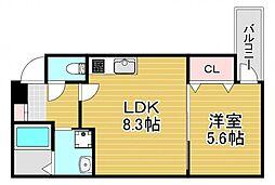 フジパレス若江岩田サウス 3階1LDKの間取り
