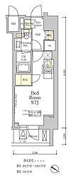 東京メトロ南北線 麻布十番駅 徒歩7分の賃貸マンション 9階ワンルームの間取り