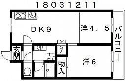 シャトーオキタ[3階]の間取り
