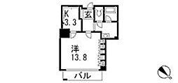 東京ツインパークス 3階ワンルームの間取り