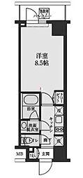 東京メトロ半蔵門線 清澄白河駅 徒歩10分の賃貸マンション 3階1Kの間取り