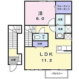 JR東海道本線 早川駅 徒歩16分の賃貸アパート 2階1LDKの間取り