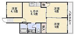 春木マンション[401号室]の間取り