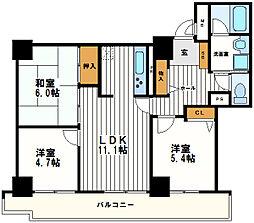 キングマンション心斎橋東[19階]の間取り