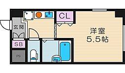 レヴェ北田辺[4階]の間取り