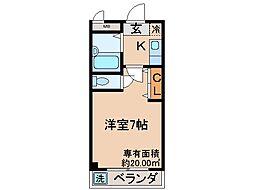 京都府京都市伏見区向島東定請の賃貸マンションの間取り