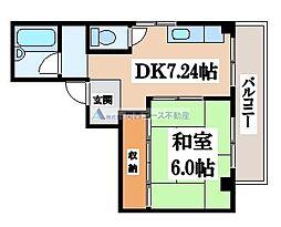 カキヤハイツ[3階]の間取り