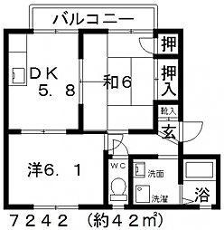 くすの木ハイツ[A205号室号室]の間取り