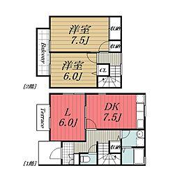 JR成田線 成田駅 徒歩18分の賃貸タウンハウス 1階3DKの間取り