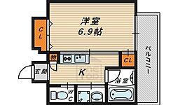 ドムス蒲生 11階1Kの間取り