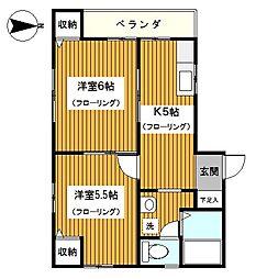 神奈川県川崎市幸区戸手本町1丁目の賃貸アパートの間取り