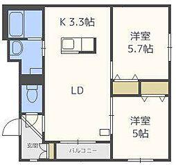 北海道札幌市北区北三十四条西3丁目の賃貸マンションの間取り