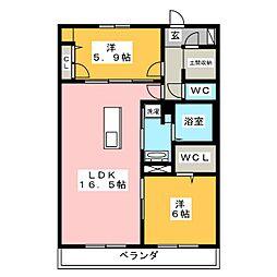 コンフォート平川 2階2LDKの間取り