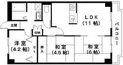 滋賀県近江八幡市堀上町の賃貸マンションの間取り