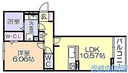 ルピナ梅満 2階1LDKの間取り